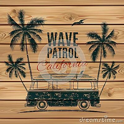 Free Grunge, Vintage, Retro Surf Van Stock Images - 56369674