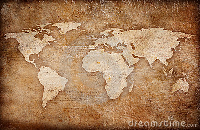 Grunge vintage world map background