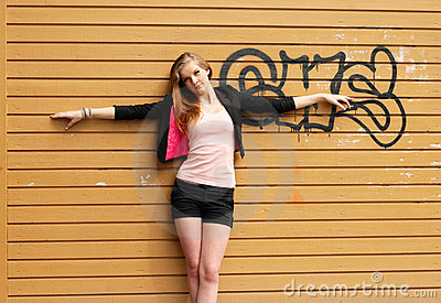 Grunge wall with girl background
