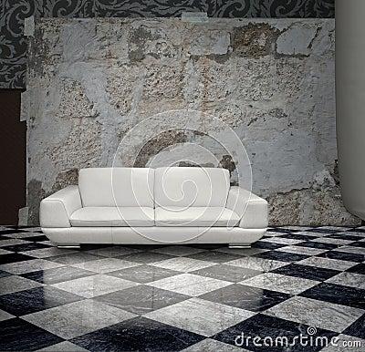 Grunge wall white sofa