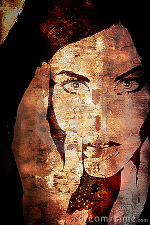 Grunge wall with woman s face