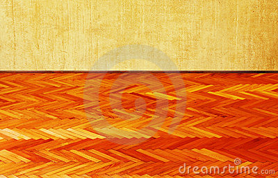 Grunge wall and wood floor background