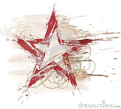 Free Grunge Watercolor Star Stock Image - 5632531