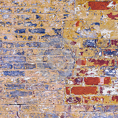 Free Grunge Weathered Brick Wall Red With Blue Yellow And White Peeli Royalty Free Stock Photos - 39610508