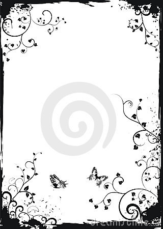 Grunge white floral frame with butterflies