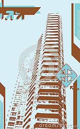 Grunge wieży miasta.
