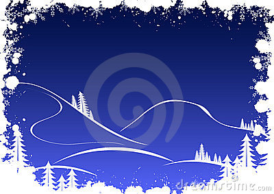 Grunge winter background with firtree snowflakes and santa