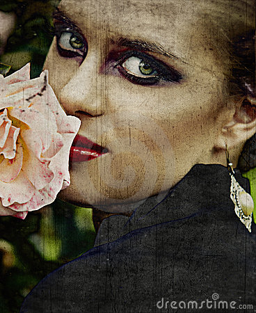 Grunge Woman And Rose. Stock Photos - Image: 18597833