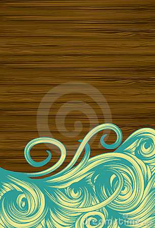 Grunge wood background with hand drawn swirls