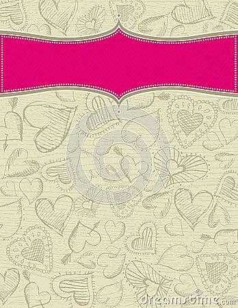 Grunge wooden beige background with hearts