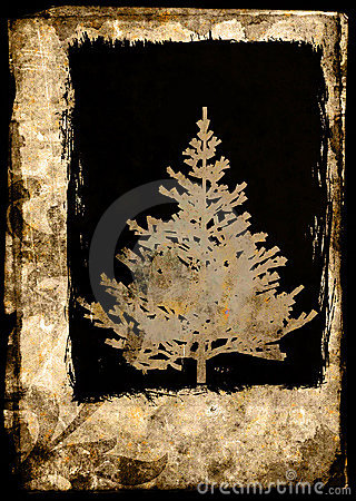 Grunge Xmas tree postcard - brown