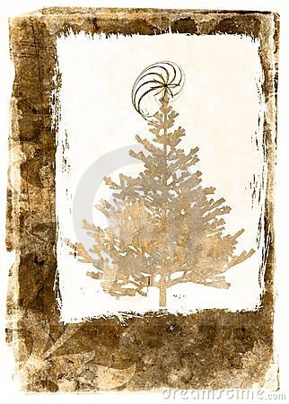 Grunge Xmass tree postcard - sepia