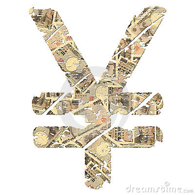 Grunge yen symbol with currency