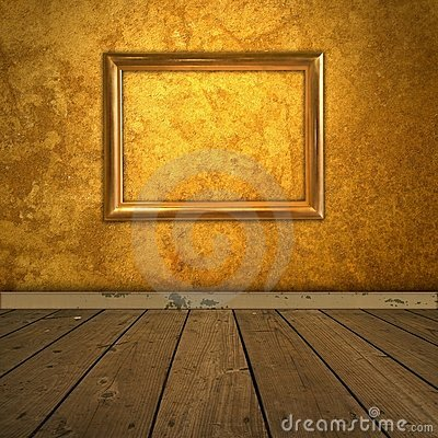 Grungy amber room with frame and spotlight