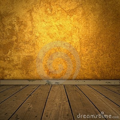 Grungy amber room with spotlight