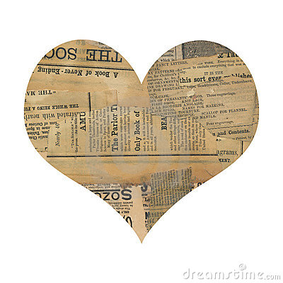 Free Grungy Antique Newspaper Paper Collage Heart Royalty Free Stock Photo - 20045345