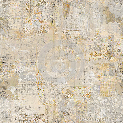 Grungy Antique Vintage Floral wallpaper collage Background Stock Photo