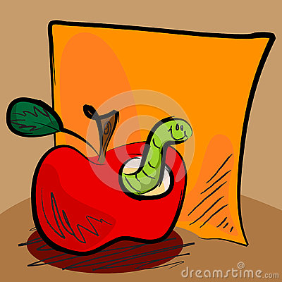 Grungy apple worm cartoon with sticky