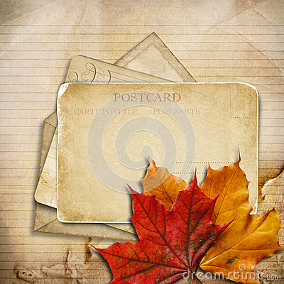 Grungy autumn background with cards and maple leaves