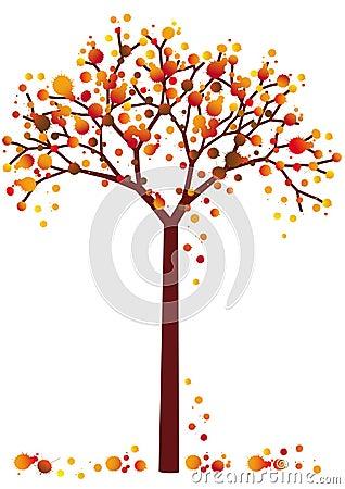 Grungy autumn tree