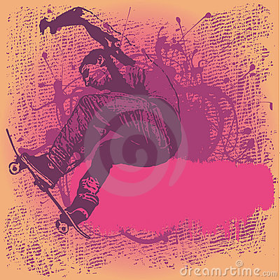 Grungy background with boy jumping on a skateboard