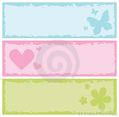 Grungy banners with butterflies, hearts, flowers