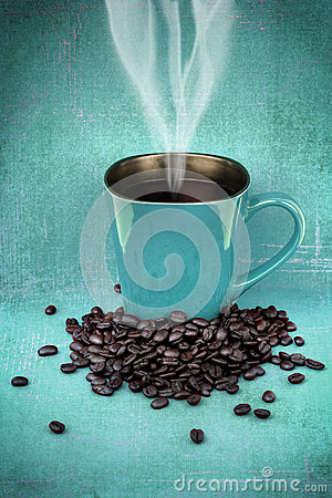 Grungy blue green cup of coffee