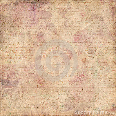 Grungy botanical vintage roses shabby background