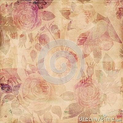 Free Grungy Botanical Vintage Roses Shabby Background Royalty Free Stock Photography - 23163017