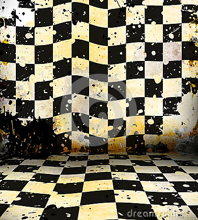 Grungy chessboard room