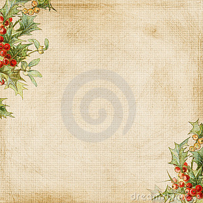Grungy Christmas Holly Frame Background