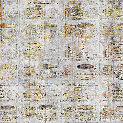 Free Grungy Coffee Cup Wall Art With Vintage Newspaper Background Royalty Free Stock Image - 47571566