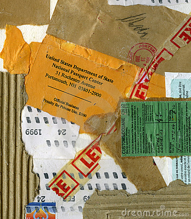 Grungy collage of paper mail items