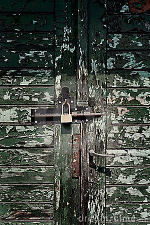 Grungy doors with lock and texture