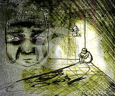 Grungy gedeprimeerde mens