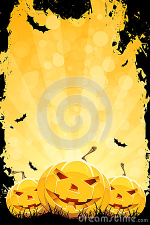Free Grungy Halloween Background With Pumpkins Stock Images - 26270074