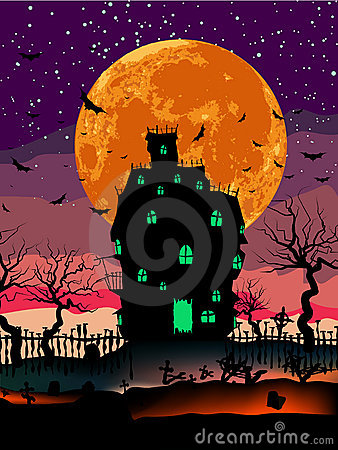 Grungy Halloween with haunted house. EPS 8