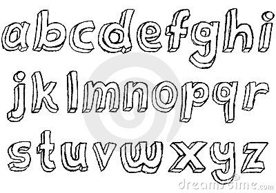 Grungy hand-drawn Lowercase Alphabet