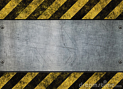 Grungy hazard sign metal plate