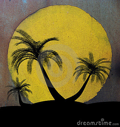 Grungy illustration on island palm tree concept