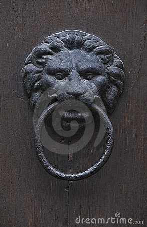 Grungy lion-head knocker door
