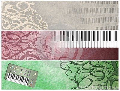 Grungy Musical Retro Keyboards  Headers