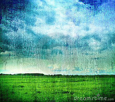 Grungy nature backdrop - grass and cloudy sky