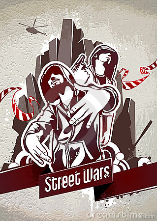 Free Grungy Poster With Two Gangsters Royalty Free Stock Photos - 22003678