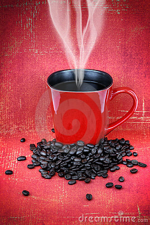 Grungy red cup of coffee