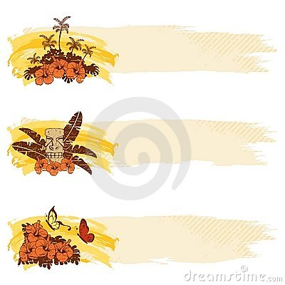 Grungy retro hawaiian banners in warm tones