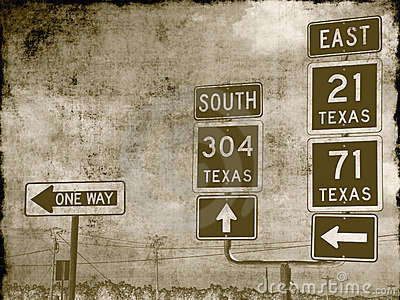 Grungy road signs