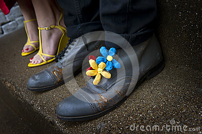 Grungy shoes with flower decorations