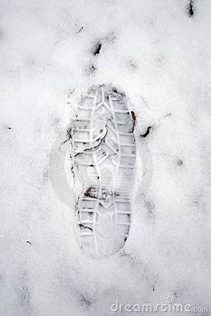 Grungy snow footstep