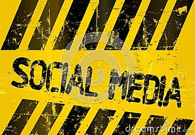 Grungy social media sign